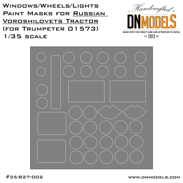 Window/Wheels/Lights Paint Masks for Trumpeter Voroshilovets 1/35 scale