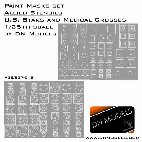 Paint Masks 1/35 WWII Allied US Stars and Medical Crosses Stencil for Vehicles and Tanks