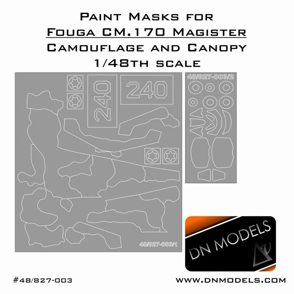 Paint Masks for Fouga CM.170 Magister - Camo and Canopy IAF 1/48