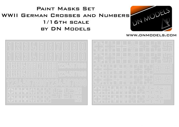 Paint Masks Set 1/16 WWII German Crosses and Numbers Stencils - Early + Late