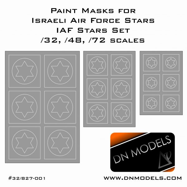 Paint Masks for Israeli Air Force Stars, IAF set 1/32, 1/48, 1/72