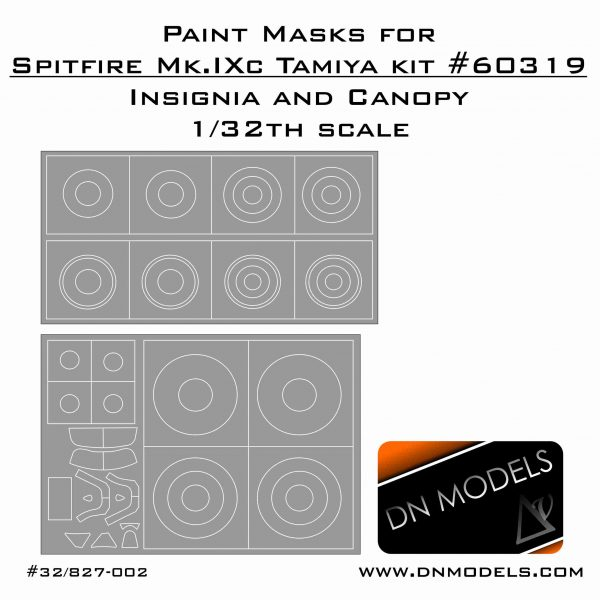 Paint Masks set Canopy and roundels for 1/32 scale Spitfire Mk.IXc Tamiya kit #60319