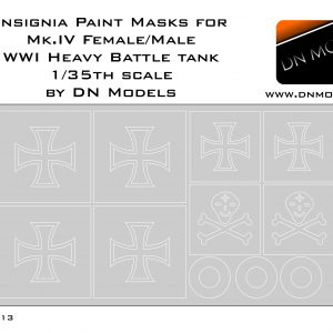Paint Masks for Beutepanzer markings WWI Male/Female Mk.IV 1/35 scale