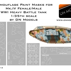 Camouflage paint masks for Mk.IV Beutepanzer WWI Male/Female 1/35 scale
