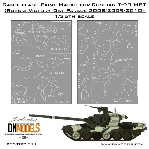 Camouflage Paint Masks for Russian T-90A MBT 1/35 Victory Day Parade