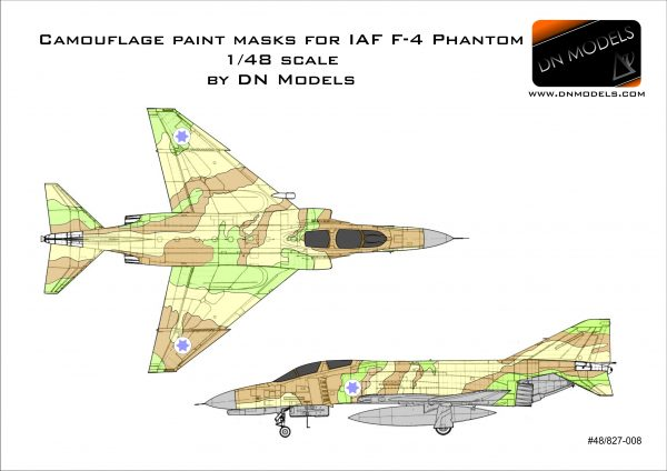 Camouflage Paint Masks for IAF F-4 Phantom 1/48 scale