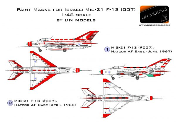Paint Masks for IAF MiG-21 F-13 (#007) 1/48 scale