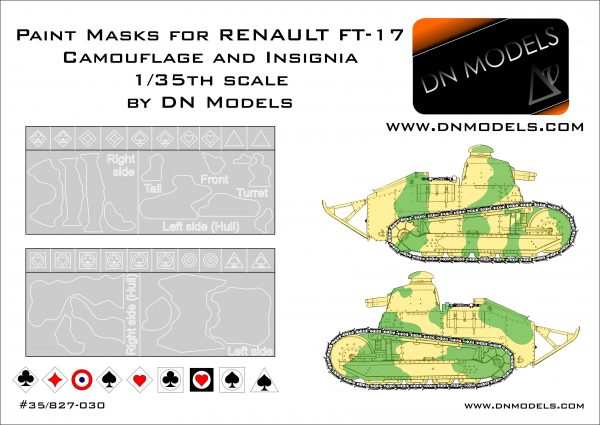 Paint Camo Masks 1/35 RENAULT FT-17 Camoufage and Insignia