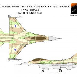 Camouflage Paint Masks for IAF F-16C Barak 1/72 scale