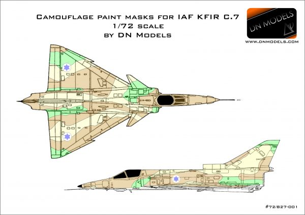 Camouflage Paint Masks for IAF KFIR C.7 1/72 scale