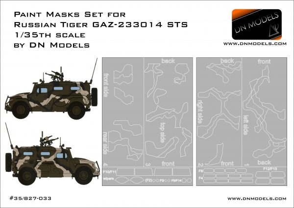 Camouflage and Windows Paint Masks for Russian Tiger GAZ-233014 STS 1/35