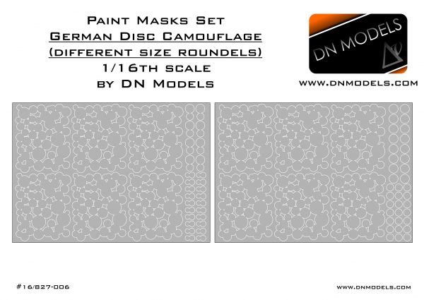 Paint Mask set 1/16 WWII 1946 German Disc Camo (different size roundels)