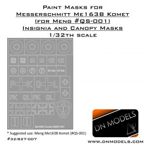 Paint Masks for Meng Me-163B Komet (QS-001) Insignia and Canopy 1/32