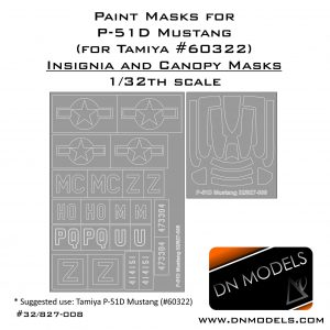 Paint Masks for Tamiya P-51D Mustang Insignia and Canopy 1/32