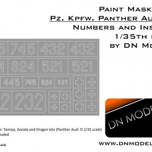 Paint Masks Set Pz.Kpfw. Panther Ausf. D Numbers & Insignia 1/35
