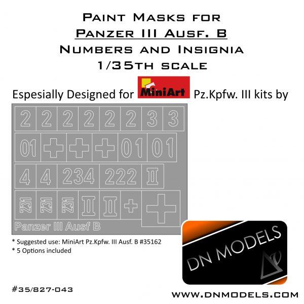 Paint Masks Set Pz.Kpfw. III Ausf. B – Numbers & Insignia 1/35