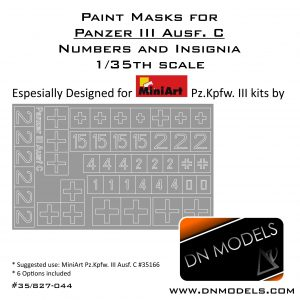 Paint Masks Set Pz.Kpfw. III Ausf. C - Numbers & Insignia 1/35