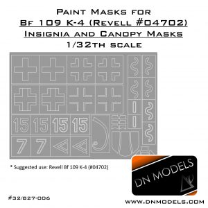 Paint Masks for Revell Bf-109 K-4 (#04702) Me109 Insignia and Canopy 1/32