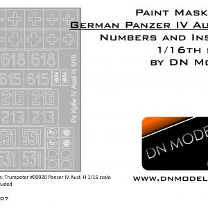 Paint Masks Set for Panzer IV Ausf.H Insignia & Numbers 1/16
