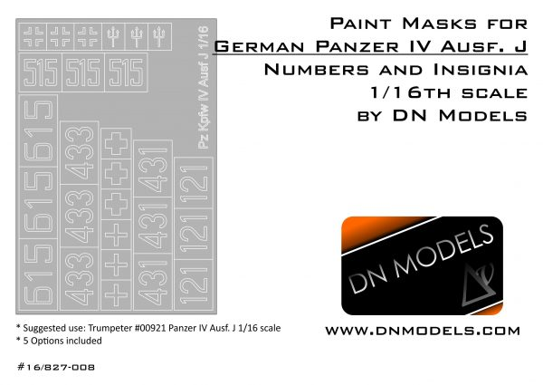 Paint Masks Set for Pz. Kpfw. IV Ausf.J Insignia & Numbers 1/16