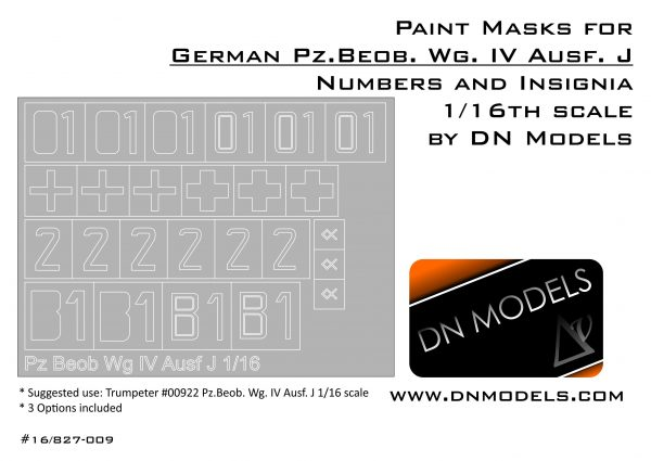 Paint Masks Set for Pz. Beob. Wg. IV Ausf.J Insignia & Numbers 1/16