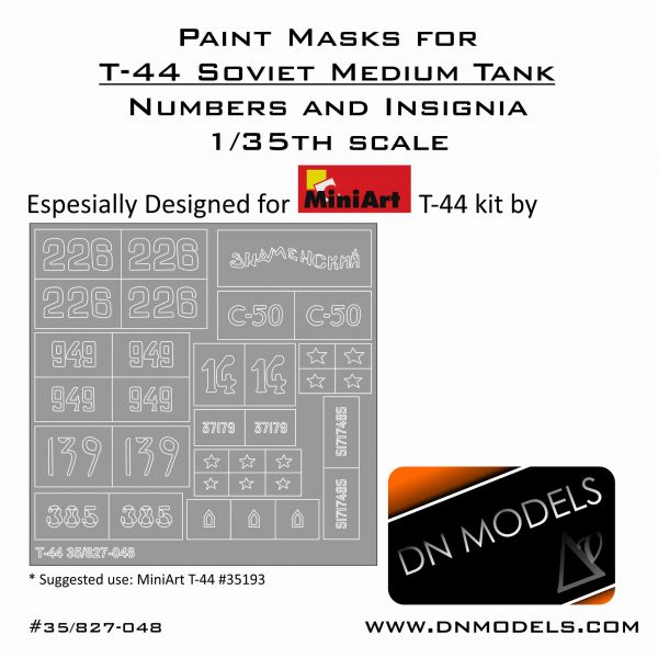 Paint Masks Set for T-44 Soviet Medium Tank MiniArt #35193