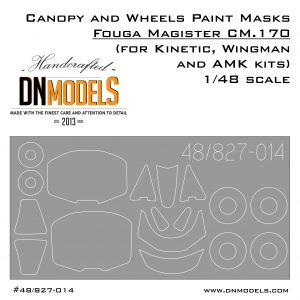 Canopy and Wheels Paint Masks Set for Fouga Magister CM.170 1/48 scale (for Kinetic, Wingman and AMK kits)
