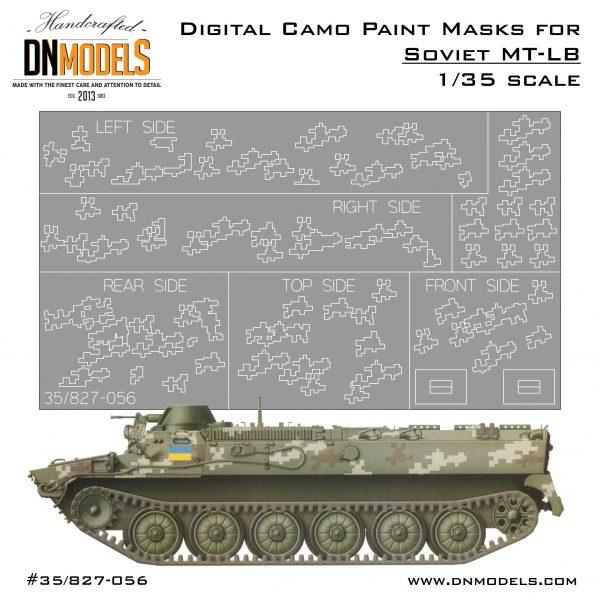 Digital Camouflage Paint Masks Set forUkraine's MT-LB(camo +flags)