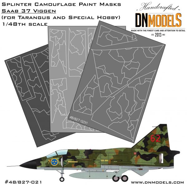 Saab 37 Viggen Splinter camo paint mask set dn models 1/48 for Tarangus and Special Hobby, Saab Viggen