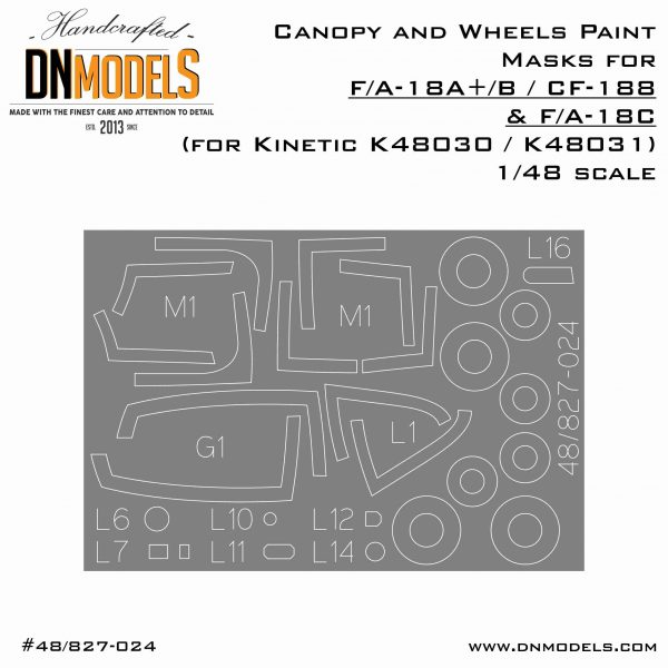Canopy and Wheels mask set for Kinetic 48030 and 48031 Hornet Kits