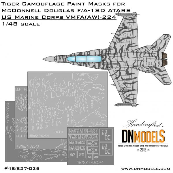 tiger camo mask set for f/a-18D Hornet ATARS VMFA-224 for Hobby Boss 80322