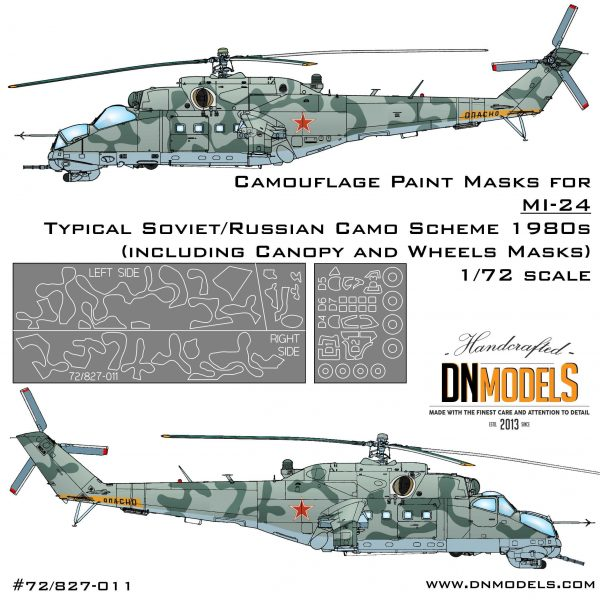 1980s typical Soviet/Russian Camo scheme for Mil Mi-24 in 72nd scale