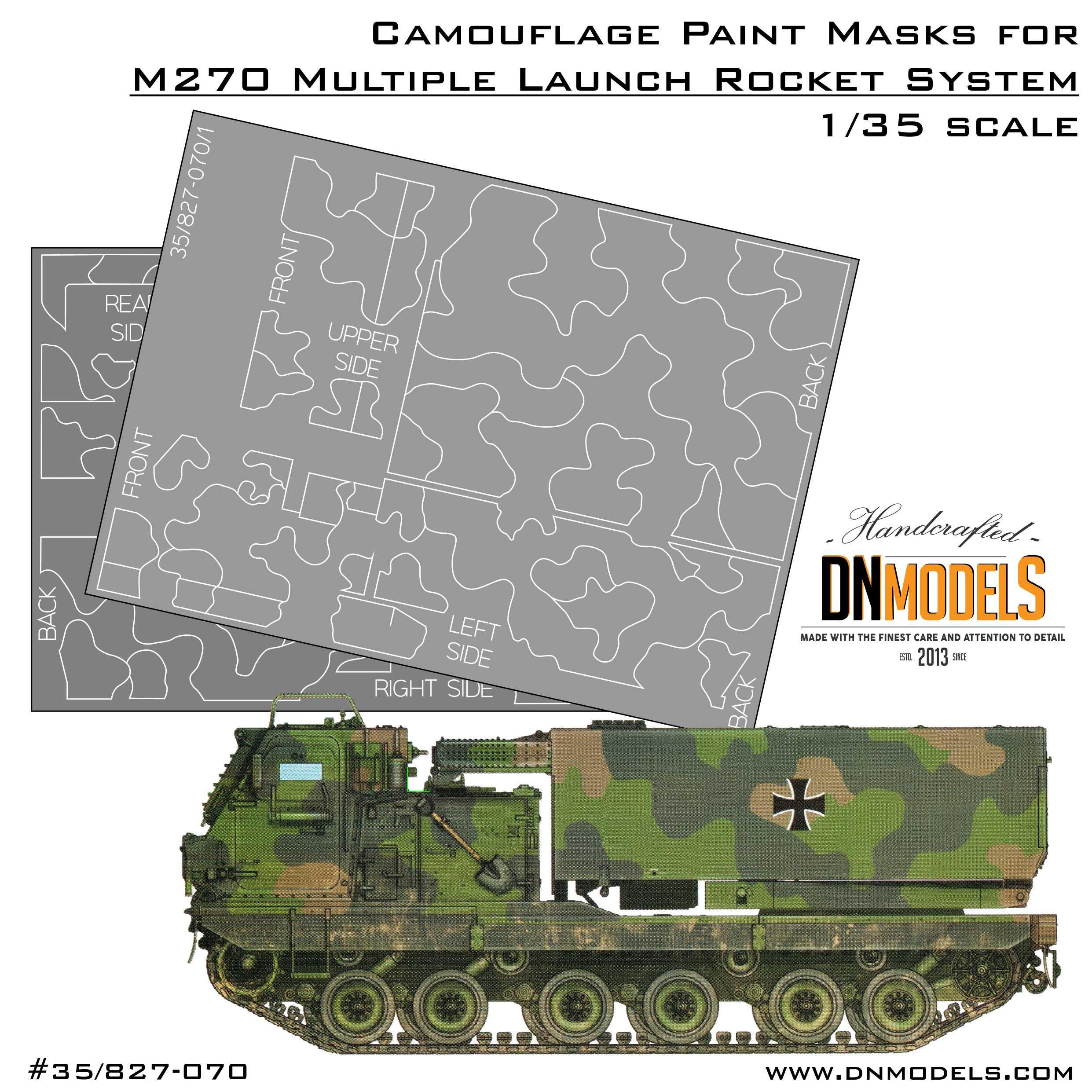 Camouflage Paint Masks Set for MLRS Mittlere Artillerie Raketen System (MARS) M270 for Trumpeter