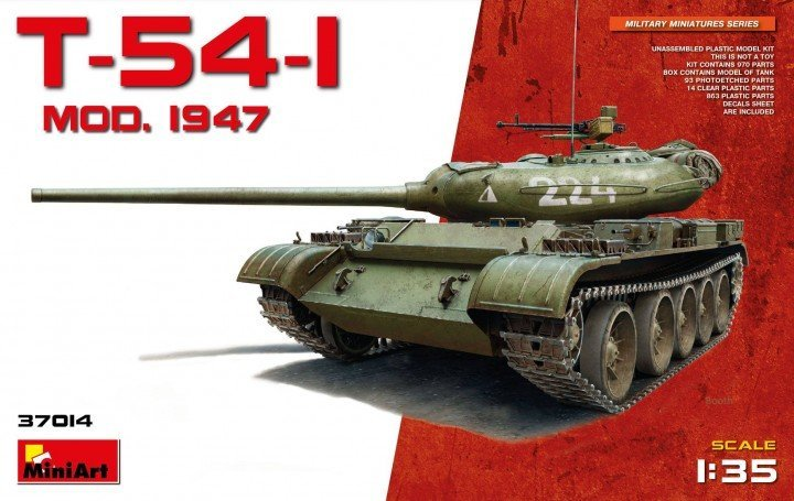 miniart 37014 t-54-1 no interior dn models review unboxing