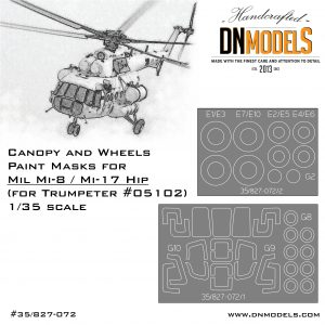 Paint Masks for Mil Mi-8 / Mi-17 Helicopter 1/35 - Canopy & Wheels by DN Models