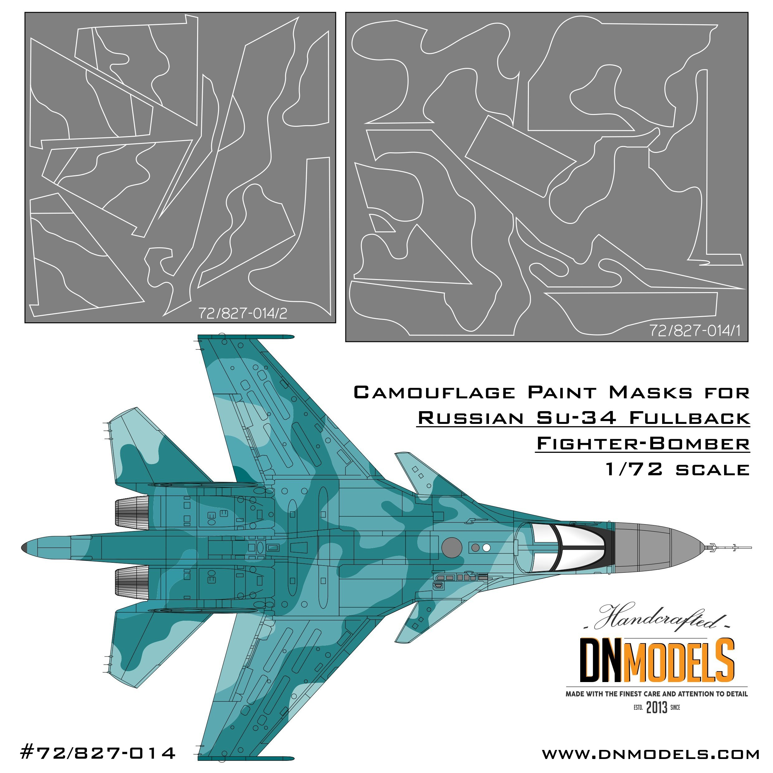 Camouflage paint masks dn models su-34 fullback fighter bomber sukhoi su-32 1/72 trumpeter