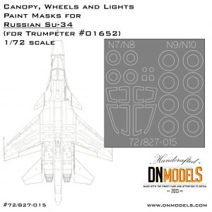 Sukhoi Su-34 Fullback Canopy, Wheels & Lights Paint Masks 1/72 canopy cover