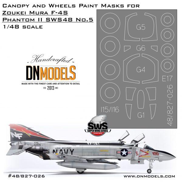 Canopy and Wheels Paint Masks Set for F-4S Phantom II1/48 (Zoukei Mura SWS48 No.5)