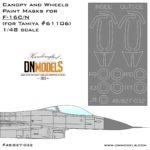 Canopy & Wheels Paint Masks for F-16C/N Aggressor 1/48 for tamiya c/n