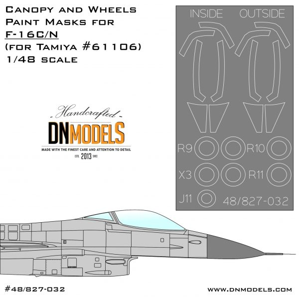Canopy & Wheels Paint Masks for F-16C/N Aggressor 1/48 for tamiya c/n