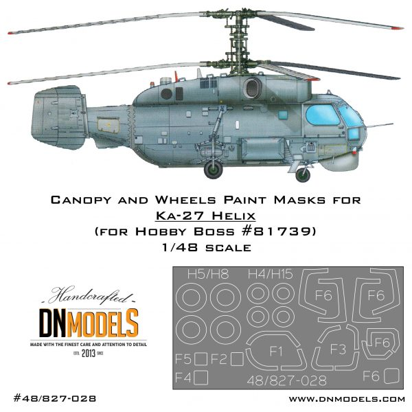 Paint Masks for Kamov Ka-27 Helix Helicopter. Canopy, Windows and Wheels