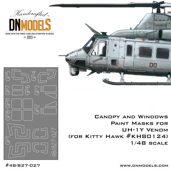Paint Masks for UH-1Y Venom Helicopter (canopy + windows)