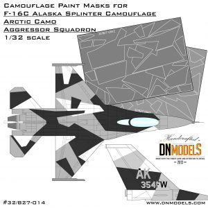 Camouflage Paint Masks for F-16C Arctic Splinter Aggressor 1/32 black