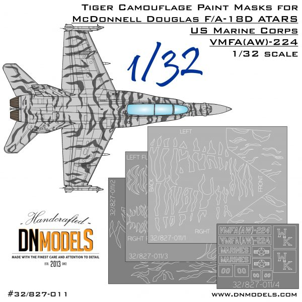 Tiger Camouflage Paint Masks Set for F/A-18D Hornet ATARS VMFA (AW)-224 1:32