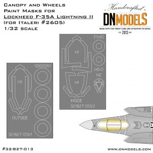 Canopy and Wheels Paint Masks for Lockheed Martin F-35A Lightning II (for Italeri #2506) 1:32