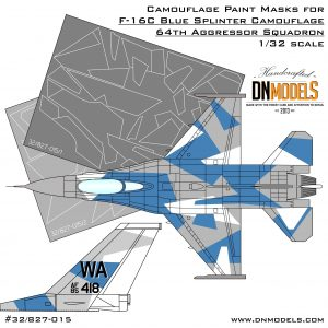 Camouflage Paint Masks for F-16C Blue Splinter Aggressor 1/32