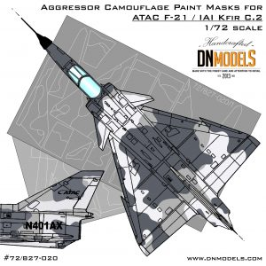 Aggressor Camouflage Paint Mask Set for ATAC F-21/IAI Kfir C.2 1/72 by DN Models