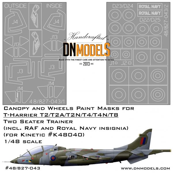 Paint Masks for Twin Seater T-Harrier 1/48 (canopy + wheels)