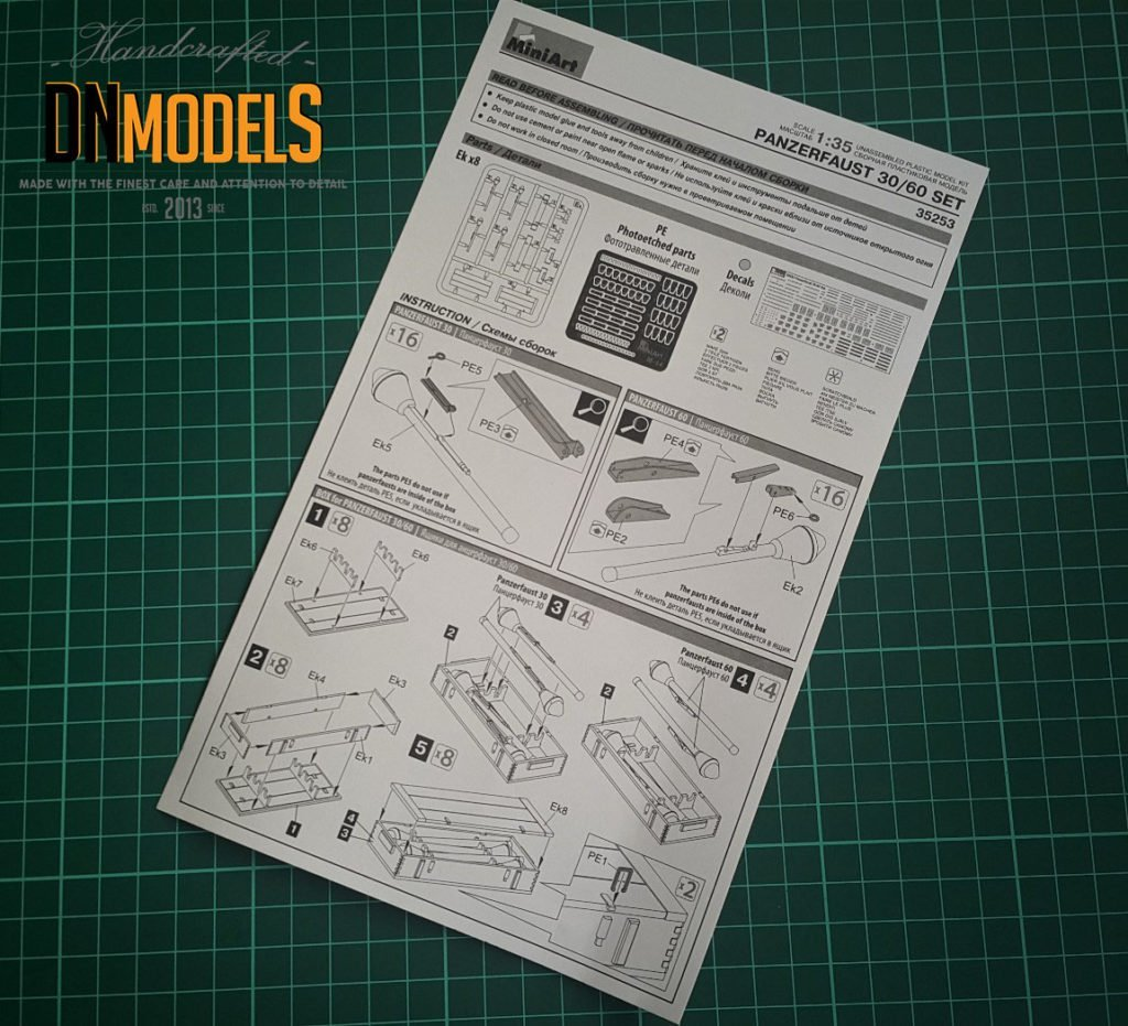 miniart 35253 panzerfaust 30/60 set instruction sheet