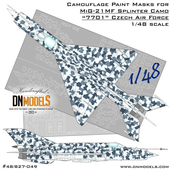 Czech Splinter camouflage paint masks for Czech Air Force MiG-21MF #7701 1/48 V.2